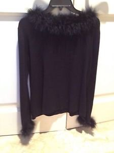Feathered Black Knit Top On Neckline & Wrists By Worthington Size Large