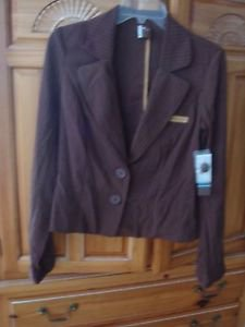 Women brown pin stripe blazer by split size medium