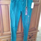 Roxy Pismo Super Skinny Fit Distressed Turquoise Jeans Size 1 ^