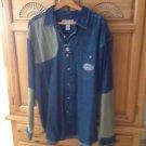 Mens denim & tan dolphin shirt size XL Boca classics Delmar sportswear