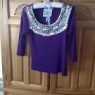 Womens Dramatic Purple Beaded Top Size MP by Faith