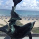 """Dancing Dolphins Statue 6.5"""" Tall Turquoise Colored"""