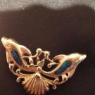 14k Gold Dolphins and Shell Pendant Slider