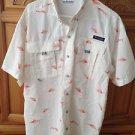 Columbia Mens super bahama pfg short sleeve shirt fish motif size large