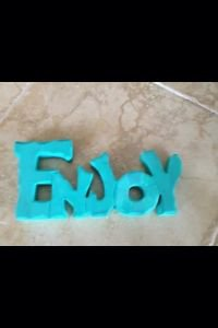 "Wooden ""ENJOY"" Sign Freestanding Plaque Turquoise Color 12"" x 5"""