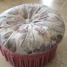 Wooden Foot Stool With Rose Tapestry Cushion beautiful condition