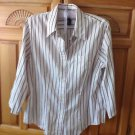 Womens Cranberry Striped Blouse Size Large by Jones New York Signature