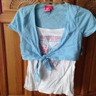 roxy girl short sleeve crop top with butterfly camisole top size extra large