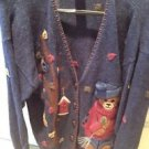 Teddy Bear Cardigan Sweater by mandal bay size extra large navy blue