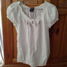 Women's White Peasant blouse Size Medium  By Faded Glory