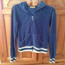 women's zippered hooded jacket blue velour design by XXI size medium