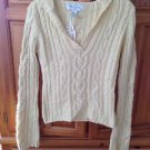 Women's Cream v neck Sweater with hood Size Medium By Aeropostale