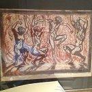 the dance woodcut print framed