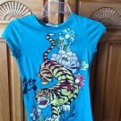 Turquoise Tiger Long Shirt by Charlotte Russe size Small beautiful condition