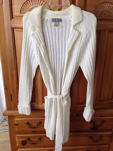 Women's Cream Belted Long Sweater Size Medium By GAS Sweaters