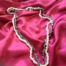 set of 2 beaded Necklaces: pink and grey