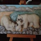 polar bear family small ceramic relief sculpture art on wooden easel from paris