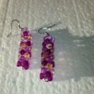 purple beaded dangling pierced earrings