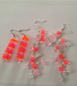 2 pairs of pierced earrings: medley of pink cascading beaded & dangling beaded