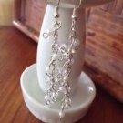 white wedding cascading pearl toned beaded dangling pierced earrings
