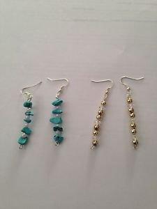 set of 2: Dangling Beaded pierced earrings