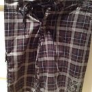 mens quicksilver brown plaid board shorts no label size small