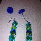 set of 2 pierced earrings: cobalt glass glass button & beaded bluegreen dangling