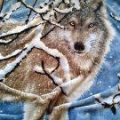 "Soft cuddly throw blanket approximately 50"" x 68""  wolf design"