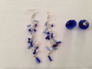 2 pairs of pierced earrings: cascading beaded & cobalt glass button