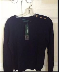 100% cashmere sweater Lauren by Ralph Lauren gold button shoulder size L navy ^
