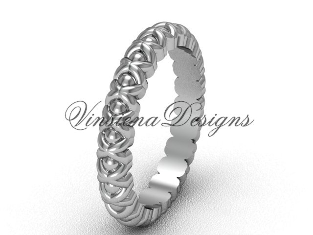 14k white gold wedding band VD1008