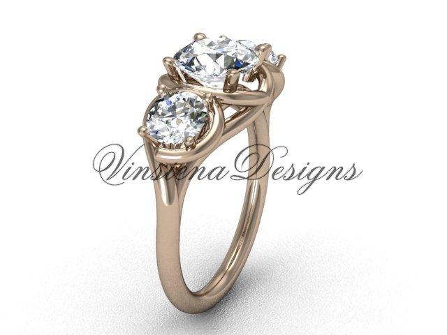 """14kt rose gold Three stone engagement ring, """"Forever One"""" Moissanite VD10014"""