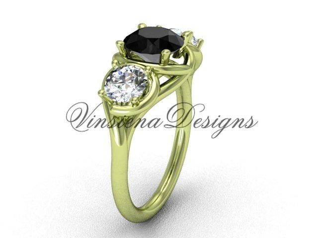 14kt yellow gold Three stone engagement ring, Black Diamond VD10014