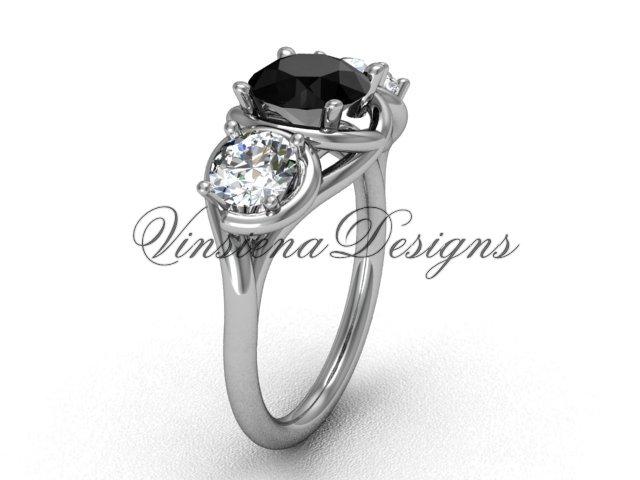14kt white gold Three stone engagement ring, Black Diamond VD10014