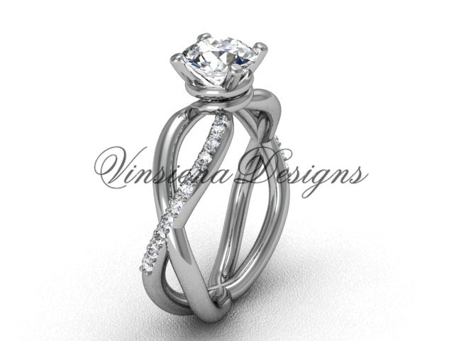 Platinum unique diamond engagement ring VD870