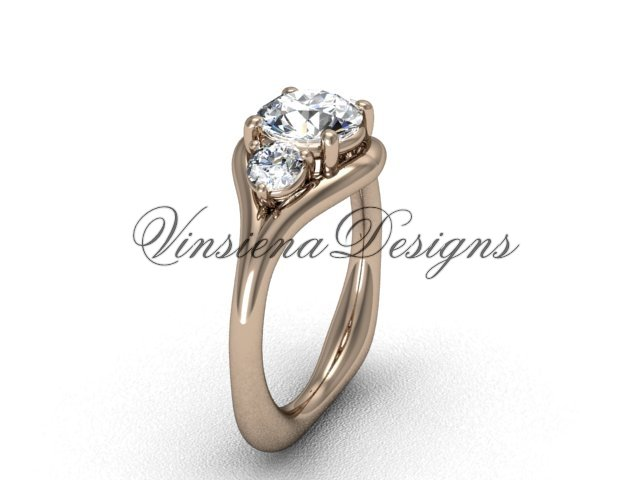 "Unique 14kt rose gold Three stone engagement ring,""Forever One"" Moissanite VD8112"