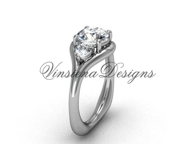 """Unique Platinumld Three stone engagement ring,""""Forever One"""" Moissanite VD8112"""