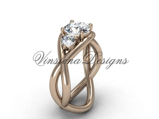 """Unique 14kt rose gold Three stone engagement ring,""""Forever One"""" Moissanite VD8156"""