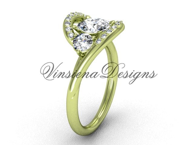 """Unique 14kt yellow gold  engagement ring,""""Forever One"""" Moissanite VD8166"""