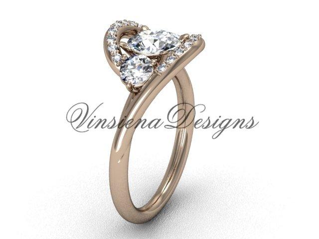 "Unique 14kt rose gold  engagement ring,""Forever One"" Moissanite VD8166"