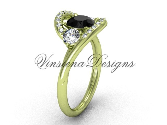Unique 14kt yellow gold diamond  engagement ring,Black Diamond VD8166