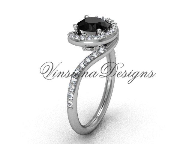14kt white gold unique diamond engagement ring, Black Diamond VD8199