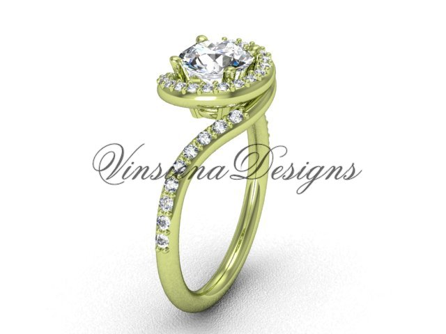 """14kt yellow gold unique diamond engagement ring, """"Forever One"""" Moissanite VD8199"""