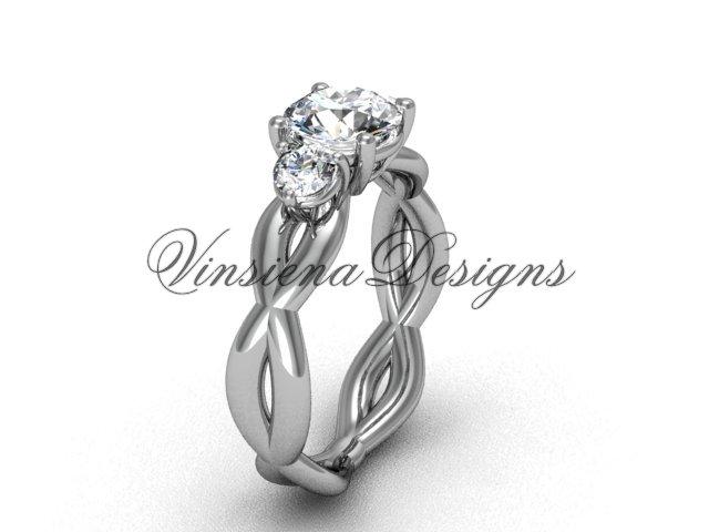 """14k white gold Three stone engagement ring,""""Forever One"""" Moissanite VD8405"""