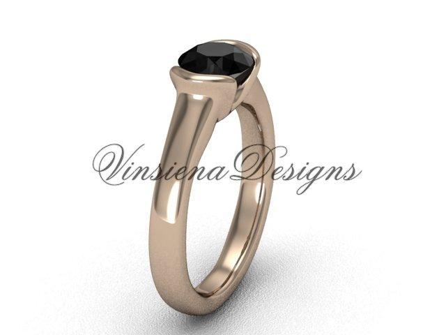 14kt rose gold engagement ring,Black Diamond VD10016