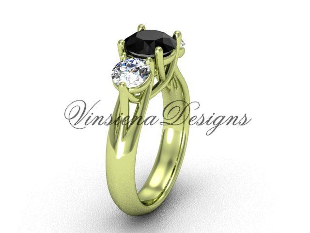 14kt yellow gold Three stone engagement ring, Black Diamond VD10017