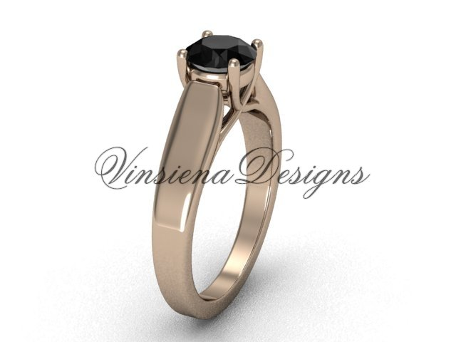 14kt rose gold engagement ring,Black Diamond VD10018