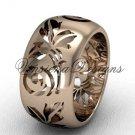 14kt rose gold floral engagement ring,wedding band VD10034G