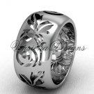 14kt white gold floral engagement ring,wedding band VD10034G