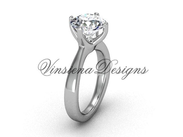 """14k white gold engagement ring,wedding ring """"Forever One"""" Moissanite VD10020"""